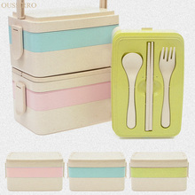 Japanese Style Wheat Straw Microwave Oven Student Multilayer Food Container Sushi Boxes Tableware