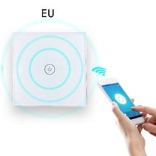 QIACHIP Afstandsbediening WIFI Touch Schakelaar Led Light EU 220 V 1 gang Smart Domotica Module Glas Panel Draadloze Muur schake