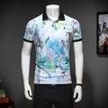 2017 summer inglaterra estilo de la flor impresa polo camisas de los hombres de negocios bird impreso polo casual slim fit camisas para hombres tamaño M-3XL