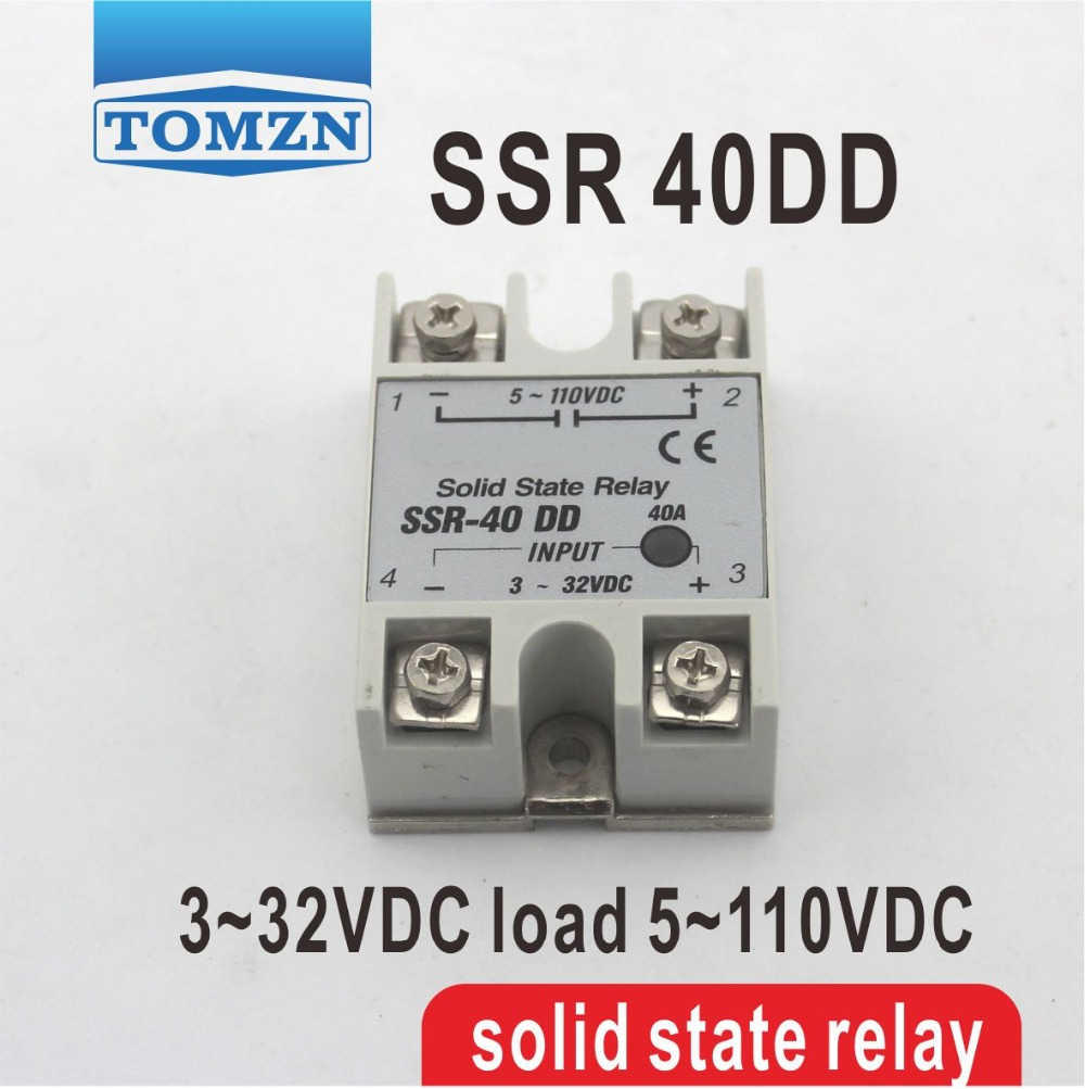 40DD SSR input 3~32VDC load 5~110VDC DC single phase DC solid state relay ssr 40dd 40a dc control dc ssr white shell single phase solid state relay 10a input 3 32v dc output 5 60v dc