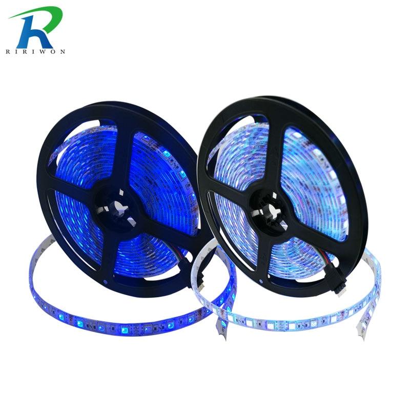 RiRi won smd RGB led strip light 5m DC 12V 5050 60leds led light led tape diode ribbon waterproof strip no power no controller