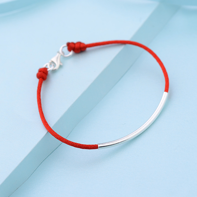 S925 Sterling Silvery <font><b>Bracelet</b></font> The Red Rope Lucky Simple Horizontal <font><b>Tube</b></font> Jewelry image