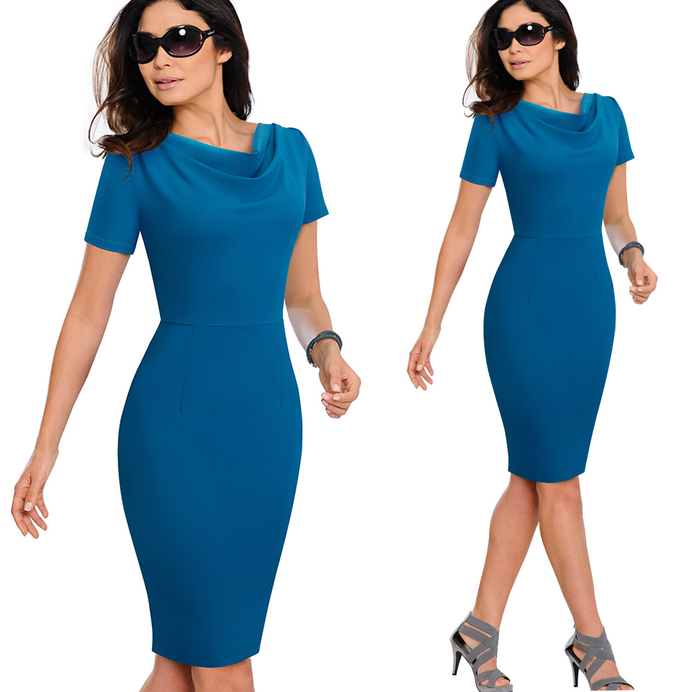 Nice-forever Women Vintage Wear to Work Elegant vestidos Business Party Bodycon Sheath Office Ruffle Female Dress B452 37