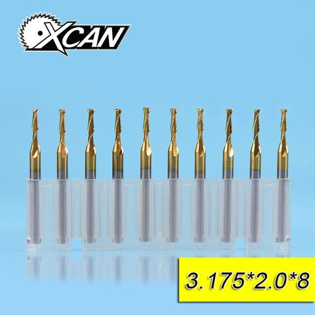 XCAN 10pcs 2.0mm Carbide 2 Flute Flat End Milling Cutter 8/12/17/22mm Cutting Length 3.175 Shank Wood Cutter End Mill
