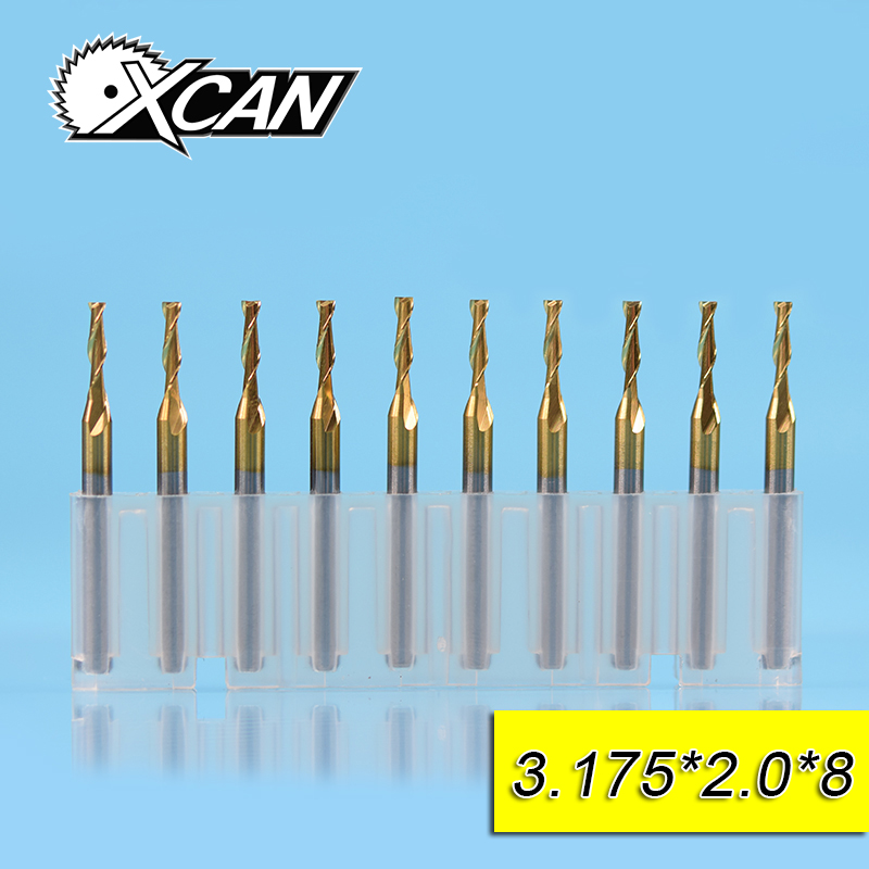 XCAN 10pcs 2.0mm Tungsten steel 2 blade flat end milling cutter 8/12/17/22mm cutting length 3.175 shank wood/plastic drill bits best price 5pcs end milling cutter tool drill bit 3 175mm shank 3mm cutting dia tungsten carbide pcb for cutting and hook slot