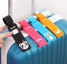цена 5 PCS/SET Travel Airplane Luggage Tag Personality Special Security Luggage Label Silicone Handbag Tag Suitcase Label ID/Address онлайн в 2017 году
