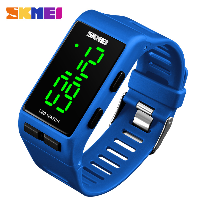 SKMEI Sport Digital Women Watch Fashion Casual Waterproof Lady Wristwatch PU Strap Alarm Week Display Watches 1364