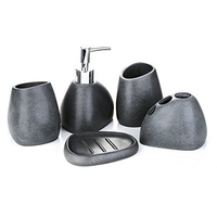 Bathroom Accessories Set Resin Bathroom Bath 5PC Set Gravel black sand resin bathroom soap dispenser hole tooth brush holder