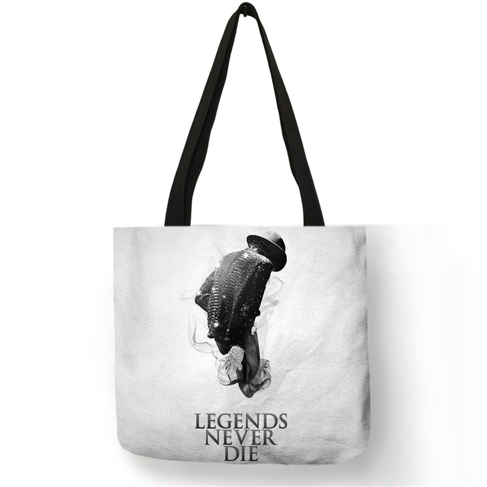 Customize Linen Bag With Personalized Michael Jackson MJ Print Casual Tote Bags For Women Fabric Handbags Traveling School Bags