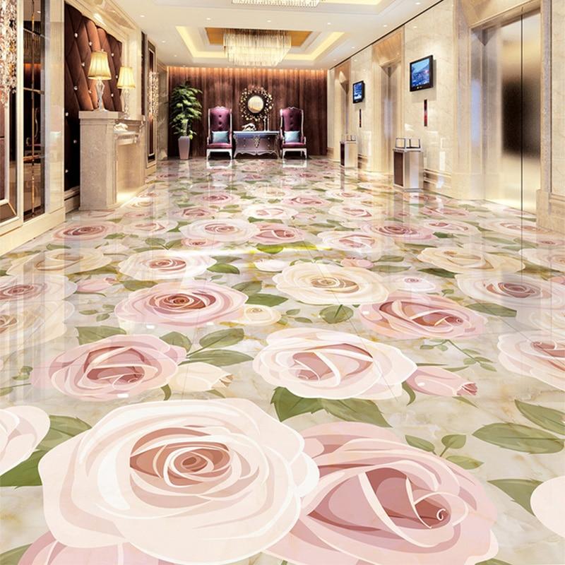 European Style Jade Reliefs Plants Flowers 3D Floor Tiles Wallpaper Sticker Living Room Hotel Mall Photo Murals Papel De Parede
