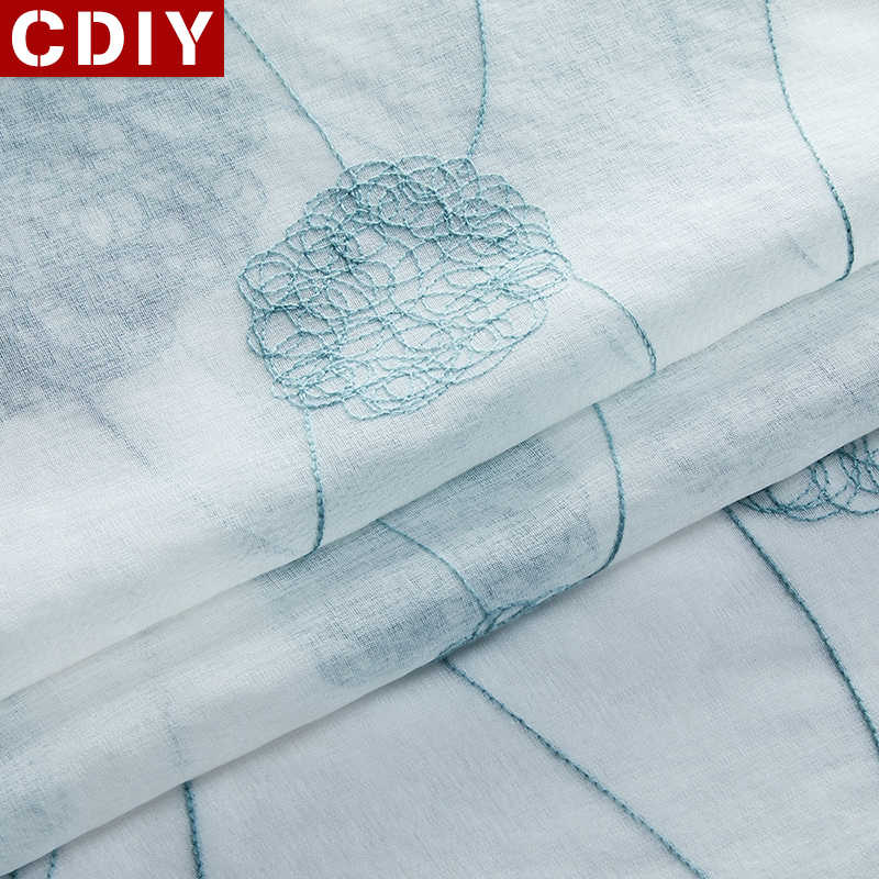 CDIY White Embroidered Sheer Window Curtains Tulle Curtains for Bedroom Living Room Kitchen Voile Curtains for Window Drapes