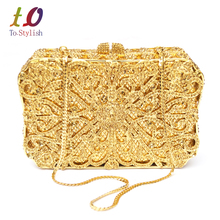 Luxury diamante box form handtaschen Goldene hochzeit braut geldbörse feminina sacoche Bling abend prom taschen SC192