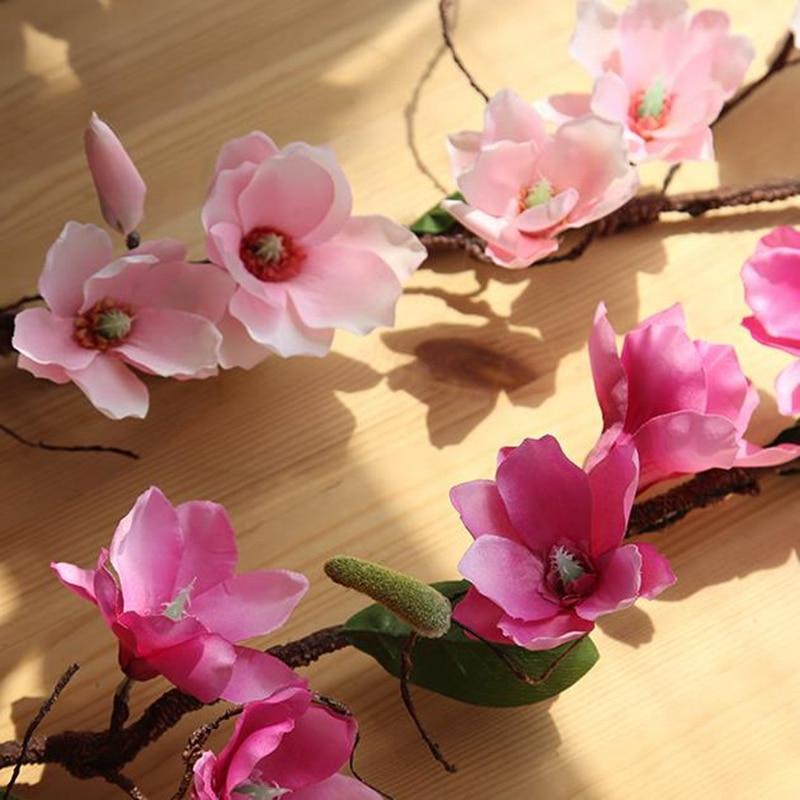 10 Pcs Aritificial Magnolia Vine Silk Flowers Vine Wedding Decoration Vines Flower Wall Orchid Tree Branches Orchid Wreath - 2