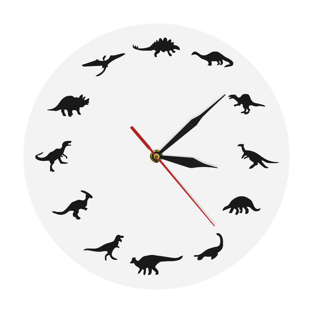 T Rex Minimalist Design Clock Dinosaurs Breeds Modern Wall Nursery Kids Room Juric Decor Dinosaur Interior