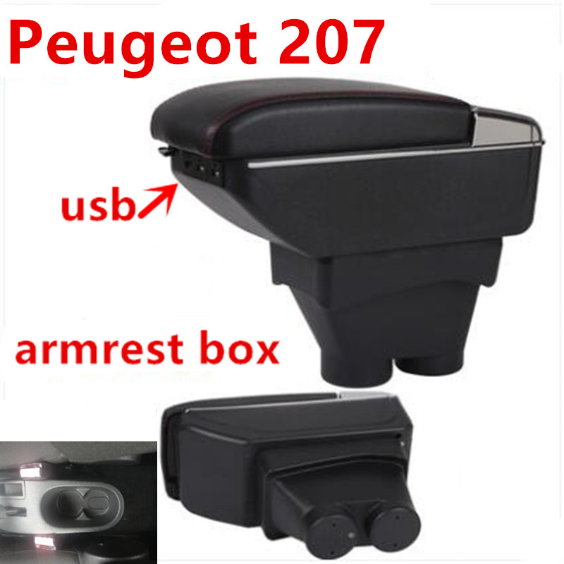 Para Peugeot 207 reposabrazos caja Peugeot 207 Universal Almacenamiento de reposabrazos central para coche caja de