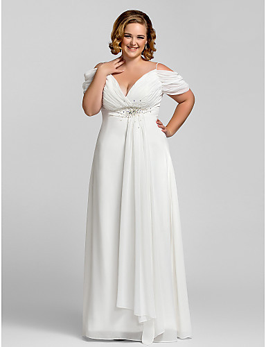 Plus size all white evening dresses