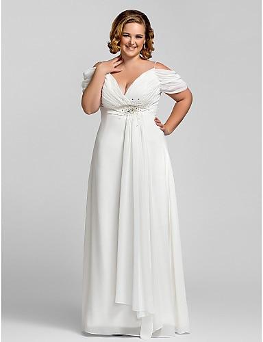 Plus Size White Women Dress A Line Off Shoulder V Neck Beaded