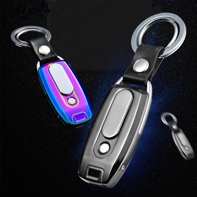 2018 New Keychain Cigarette Turbo Lighter Metal USB Lighter Rechargeable Electronic Lighter Leather Key Chain Cigar Palsma