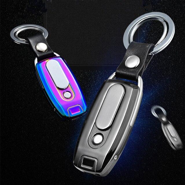 2018 جديد المفاتيح السجائر توربو ولاعة معدنية مصباح USB قابلة للشحن الإلكترونية أخف الجلود مفتاح سلسلة السيجار Palsma