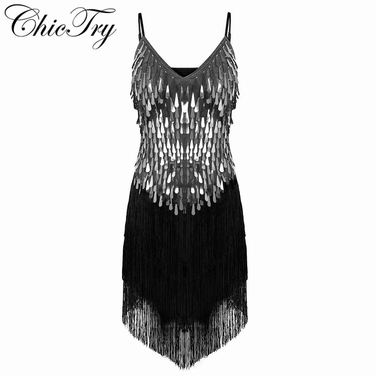 Fashion Adult Women Sparkling Sequins Fringe Dance Party Dress Gowns Rhythm Ballroom Samba Rumba Tango Latin Dance Perform Dress