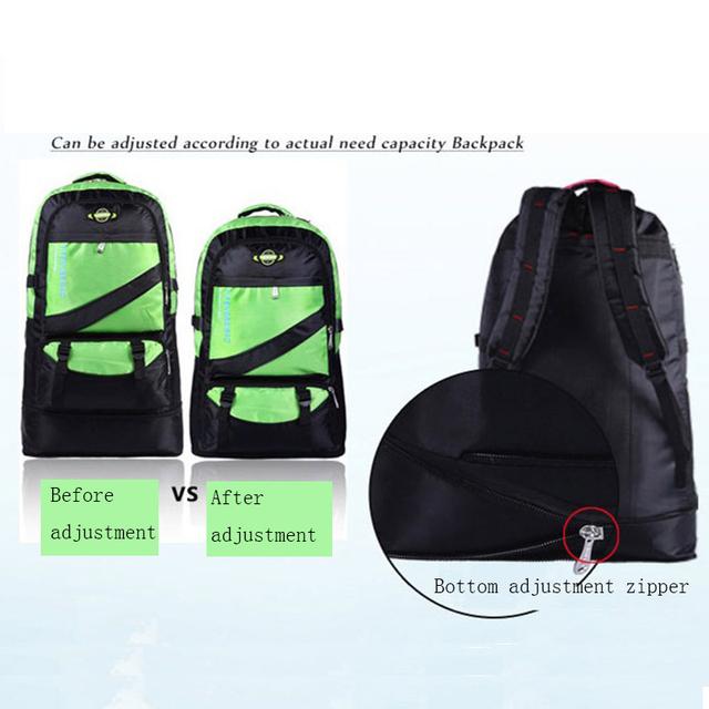 Senkeystyle 2017 Large Capacity 60L adjustable Waterproof Nylon Women & Men Travel Backpack Teenagers Laptop bag Student School bag