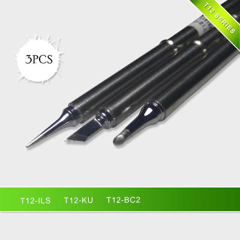 Mais novo 3 pçs/set T12-KU T12-BC2 T12-ILS pontas de ferro solda série t12 para estação retrabalho solda FX-951 FX-952
