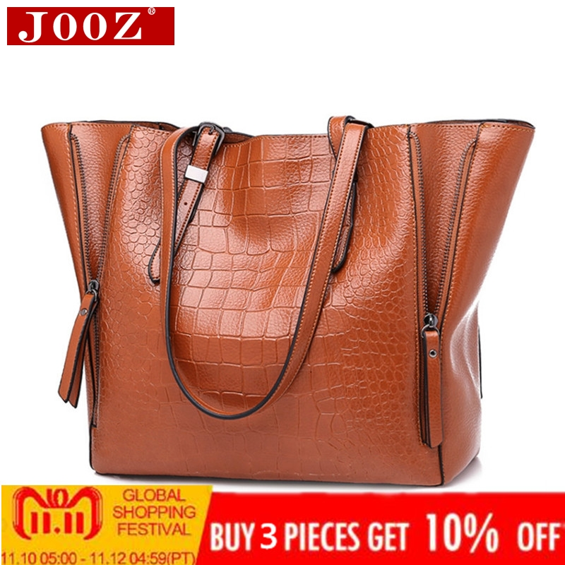 JOOZ Women Top-Handle Bags Alligator PU Leather Women Messenger Bags Double strap big shoulder bags for woman bucket handbags high quality power tool battery for hitachi ebm1830 327730 bcl1815 dh18dl ds18dl dv18dl 18v 5000mah li ion rechargeable battery