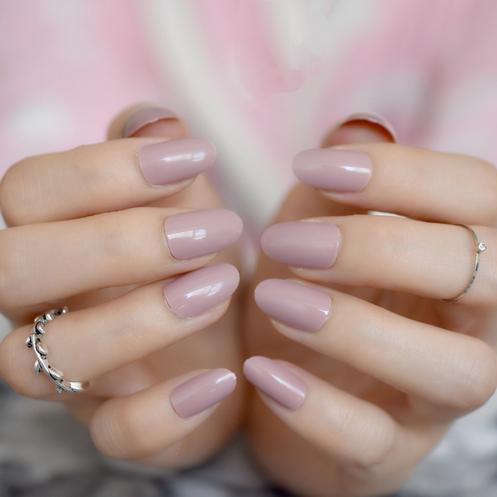 Nail Art Games For Girls On The App Store: Short Full Nail Tip 24pcs/kit Coffee Brown Round Finshed