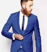 Custom Made Bleu Royal Hommes Costume hommes tux Classique Smokings de Marié Blazer Hommes De Bal Hommes Tux Époux (veste + Pantalon + Gilet + Cravate)