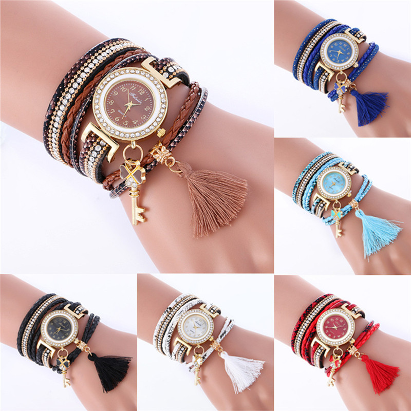 women watches bracelet watch feminino watches women rhinestone Fashion Weave Leather Bracelet Ladies Clock wholesale