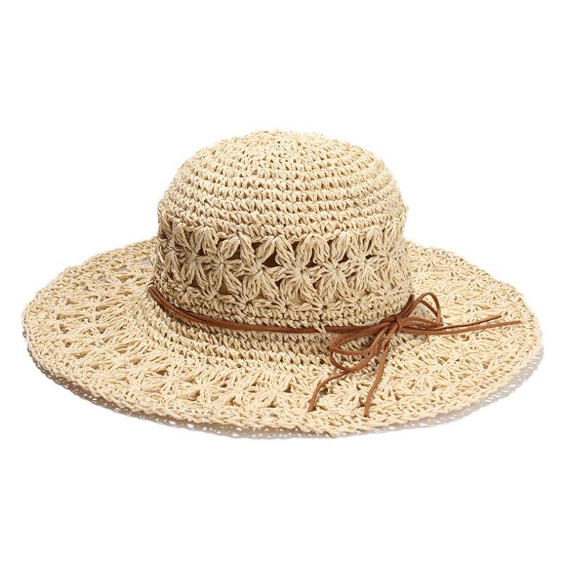 2018 nueva banda mujeres Crochet Hollow cúpula sombreros de verano para las  mujeres malla sombrero de paja plegable sombrero de sol moda playa sombrero  en ... 7f731c0c260