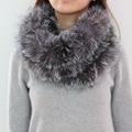 S1514 Настоящее Silver Fox меховой шарф Женщин Зима Теплая Мода Оголовье
