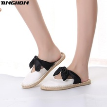 TINGHON NEW Fashion Black bow White Ethnic Casual Espadrilles Flat New Women Spring Slip on Fishermen Hemp Rope Shoes