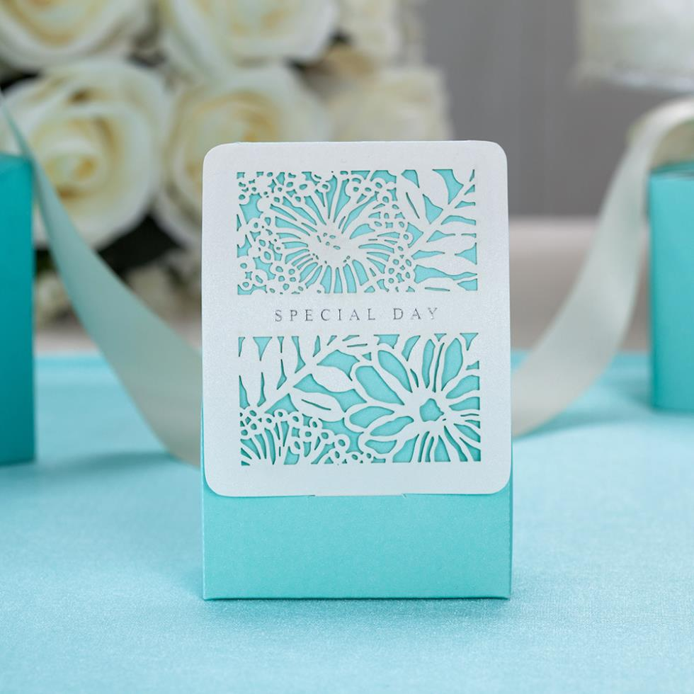 - 50 PeiceTiffany Laser-Cut Flowers Wedding Favor Boxes InThe Flora GardenTheme Wedding, Party Candy Supplies Shop store