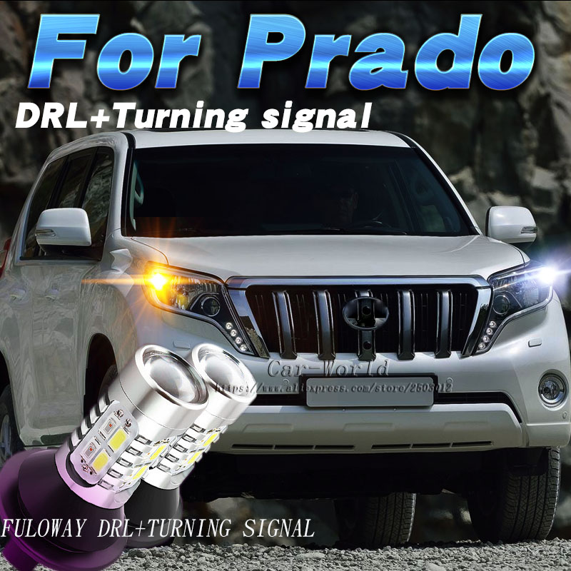 Fuloway Car-styling For Toyota Land Cruiser Prado LED DRL Daytime Running Lights Turning Signal Day Light DRL Accessories White led drl for toyota land cruiser prado 120 lc120 fj120 2003 2009 daytime running lights with light off function