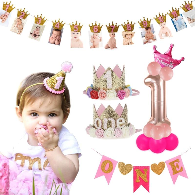 Crianças 1st festa de aniversário decoração 1 ano de idade coroa bebê menino menina 1 primeiro aniversário balão guirlanda chá de fraldas fontes de festa