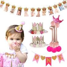 Enfants 1st décoration de fête d'anniversaire 1 an couronne bébé garçon fille 1 premier anniversaire ballon guirlande bébé douche fête fournitures
