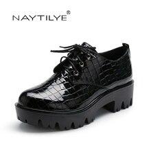 Zapatos de mujer 2017 Primavera Otoño Con Cordones de Moda de La Pu de señora de tacón cuadrado NAYTILYE shoes36-41 Envío libre marca