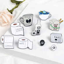 Daily Supplies Enamel Pin coffee mug Food Box Lapel Pins Badge Planet Cup Cute tooth newspaper Brooches for women Denim Jewelry(China)