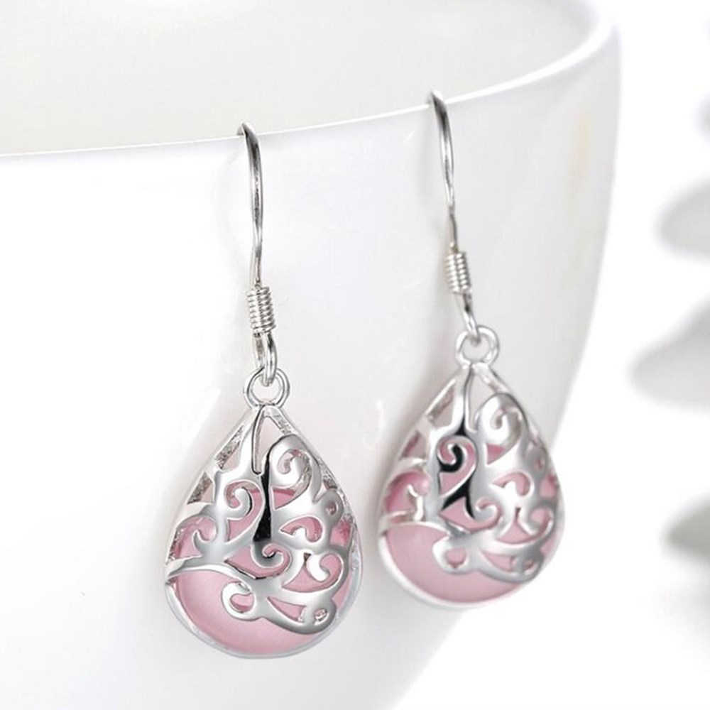 2016 new Silver earrings pink opal white moon high quality ladies fashion jewelry earrings retro love Trevi Fountain
