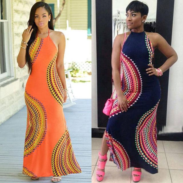 New Fashion Women Halter Dress Sleeveless Female Party Dress Ladies Printing Boho Maxi Long Dress Evening Party Dress Plus Size 2