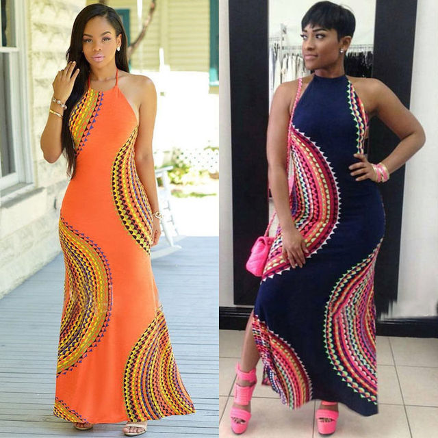 New Fashion Women Halter Dress Sleeveless Female Party Dress Ladies Printing Boho Maxi Long Dress Evening Party Dress Plus Size