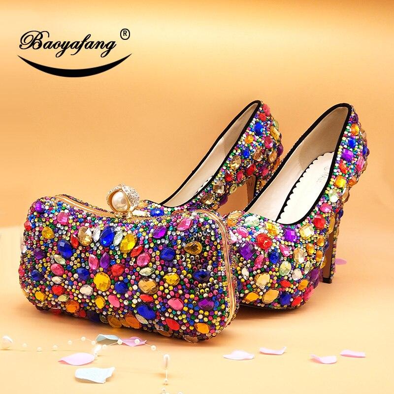 Bag Shoe Pompes 11cm Dames Shoe Assortis Robe Mariage Les 14cm Multicolore De 8cm Femmes Cristal Sacs Haute 14cm Shoe forme Bag Paty Plate Bag 8cm Avec 11cm Shoe Chaussures Talons With OHfBwxcaq