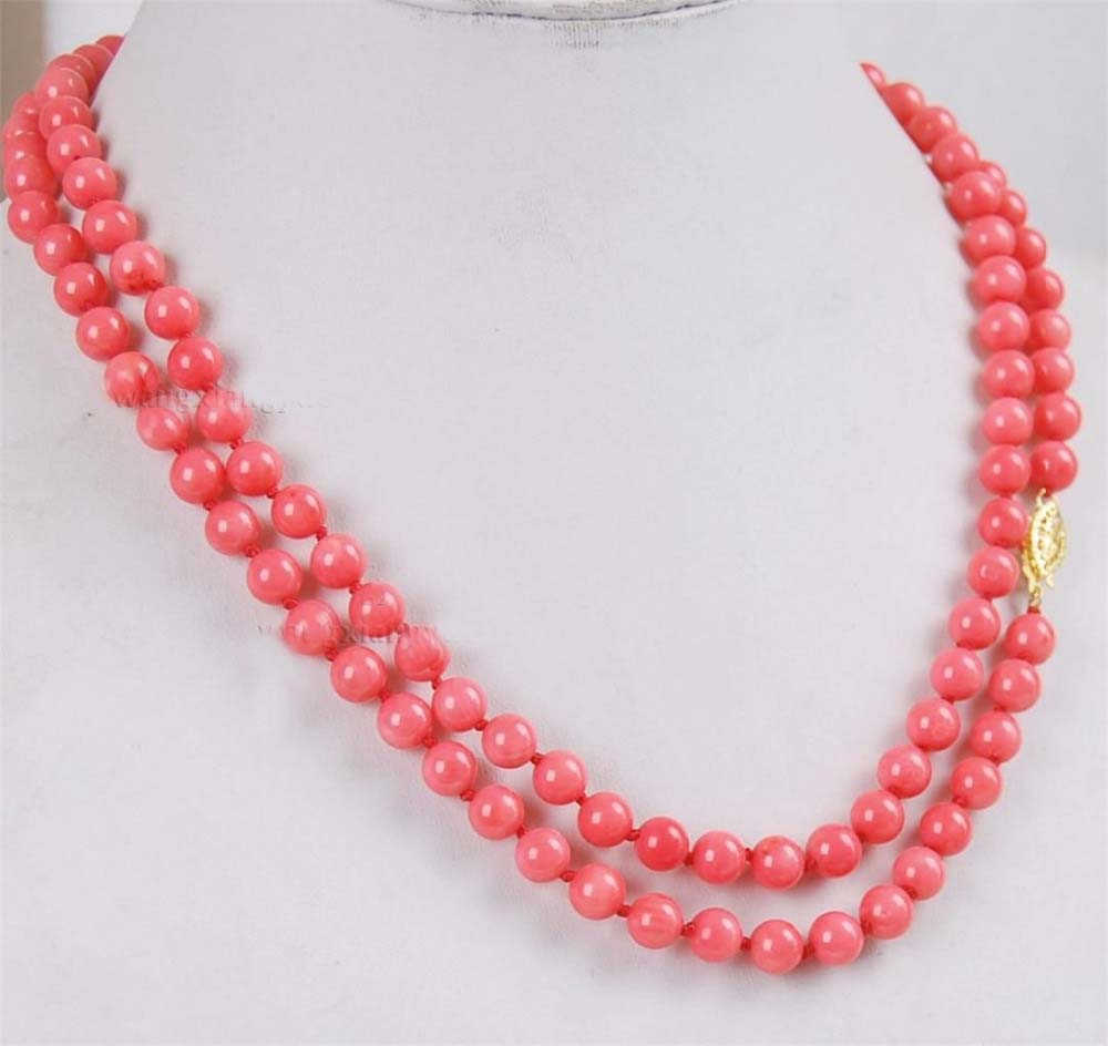 very good long 34 6mm Natural Japan Pink Coral Round Beads stones Necklace AAA Grade 14KGP