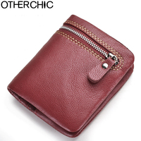 OTHERCHIC Genuine Leather Women Short Wallets Sheepskin Small Soft Wallet Coin Pocket Wallet Female Purse Money Clip 7N05 14