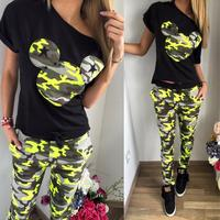 2016 Camouflage Mickey Women Suit 2 Two Piece Set Tracksuit Black T Shirt And Pants Set