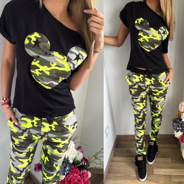 2018 Camouflage Mickey Women Suit 2 Two Piece Set Tracksuit Black T Shirt and Pants Set Fashion Sweat Suits Women Outfit