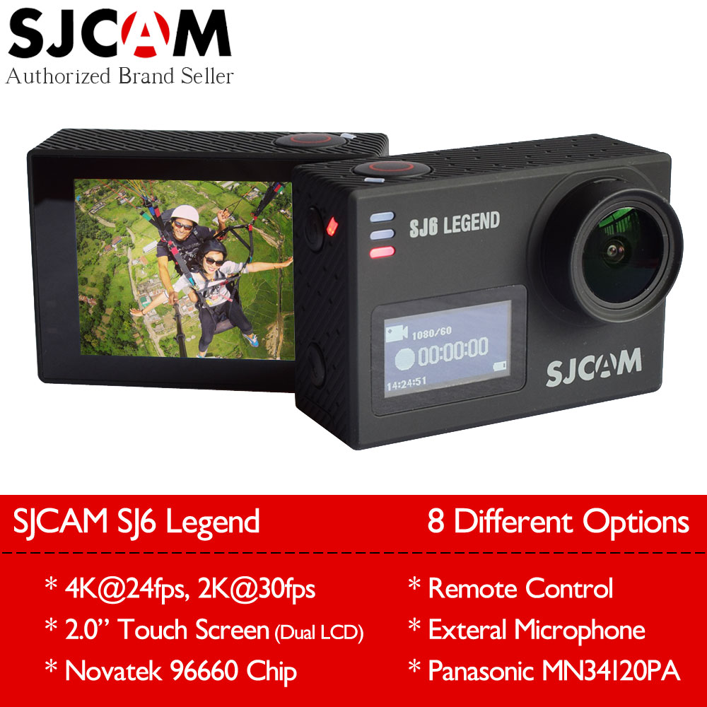 Original SJCAM SJ6 Legend 4K 24fps Wifi Action Camera 16MP Gyro Waterproof 2.0 Touch LCD Dual Display Outdoor Mini Sport DV Cam original sjcam sj6 legend accessories battery selfie stick monopod wrist remote dual charger for sj cam sj6 legend action camera