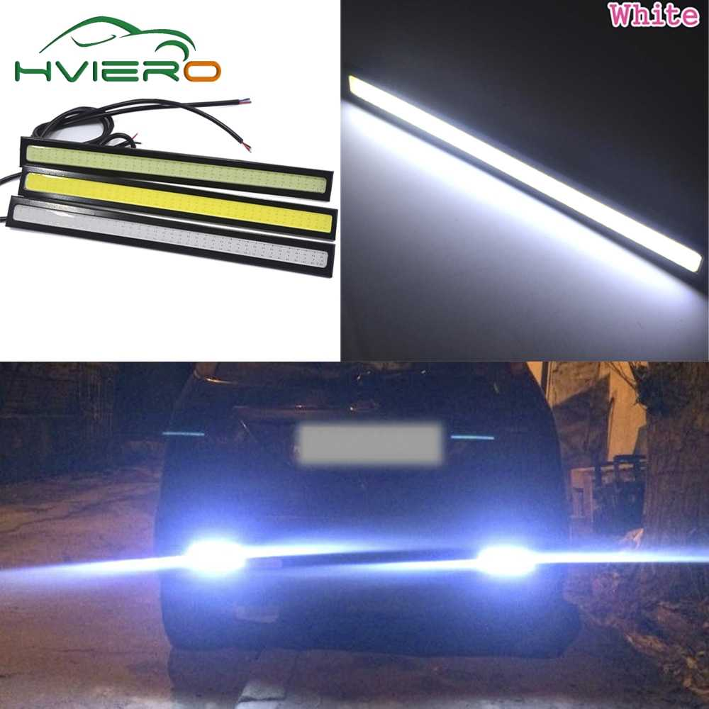 2X автомобиль DRL дневные ходовые лампочки водонепроницаемый алюминиевый светодиодный противотуманный Автомобиль Стайлинг ультраяркая лампа 17 см полоса лампа 12 В