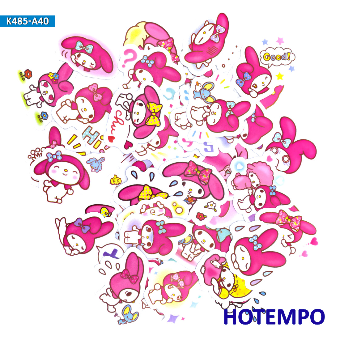 40pcs Cartoon Cute Sanrio Pink Melody Girls Stickers For Kid Toy Children Girl Letter Stationery Scrapbooking Sticker